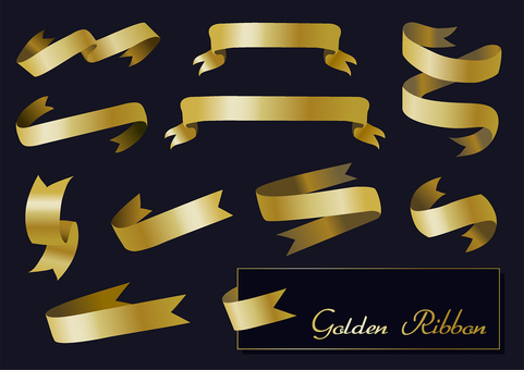 Ribbon ribbon heading set gold