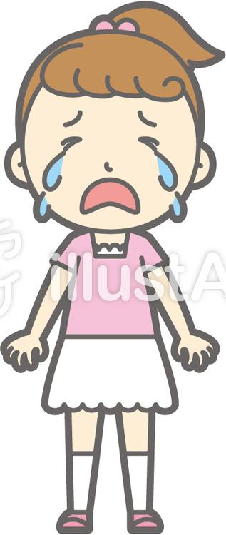 女の子半袖a-泣く-全身のイラスト