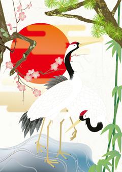 Kimono pattern _ Shochiku Meishi _ crane _ Washi