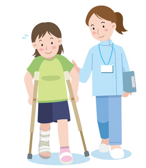 Rehabilitation injury physiotherapist illustration