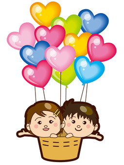 Children on a balloon