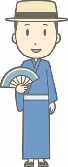 Yukata male - hat - whole body