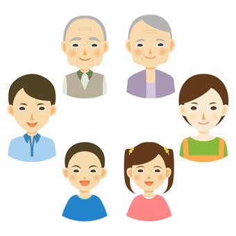 Smiling family members