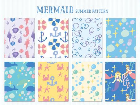 Mermaid summer pattern