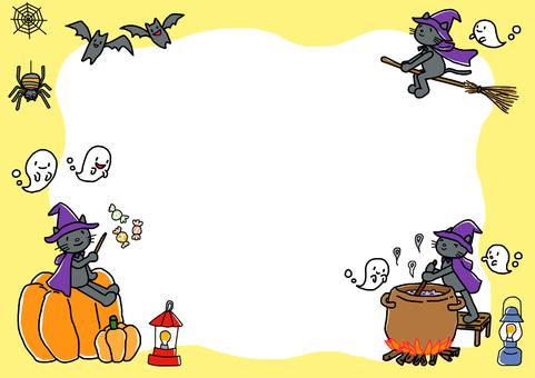 Cat cat Halloween frame