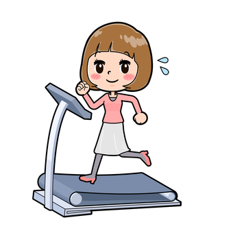 Pink clothing young woman running machine