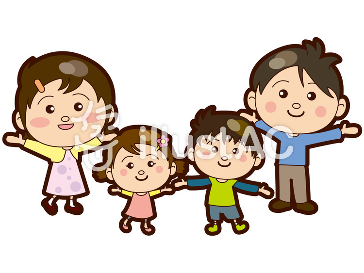 家族・ファミリー4人のイラスト