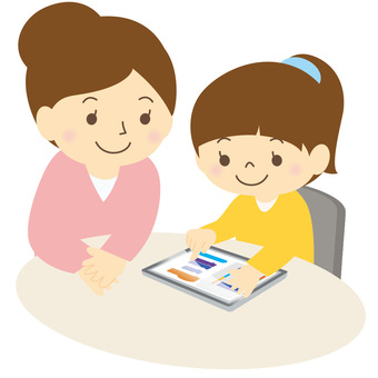Children and adults using a tablet-02