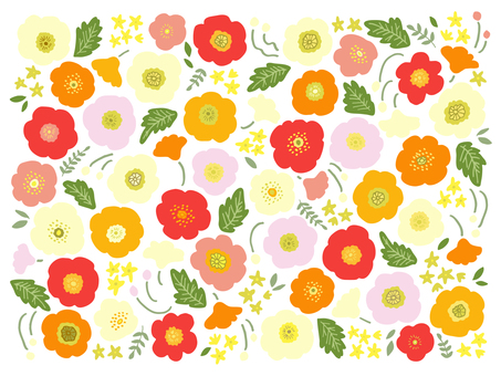 Hand-drawn poppy pattern 01 (warm colors)