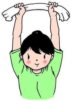 Towel gymnastics (arm raising)