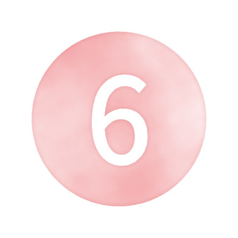 """Hand drawn watercolor style numbers """"6"""" red / pink"""