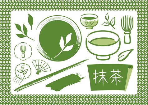 Matcha Japanese pattern hand drawn