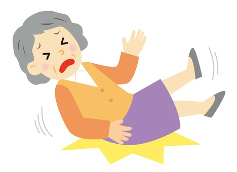 Grandmother falling over