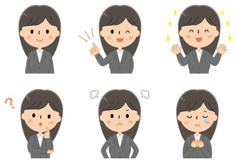 Cute suit women's illustration set