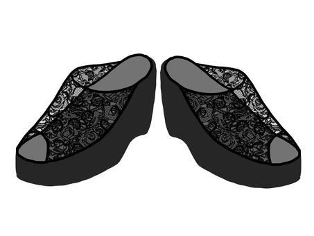 Black sandal left and right