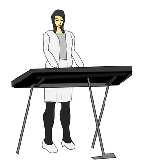 A woman playing a synthesizer