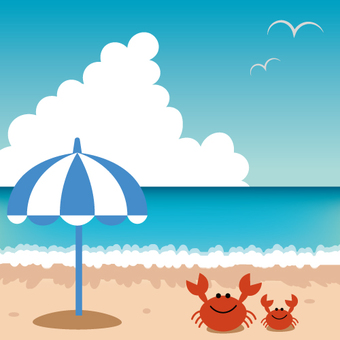 Cute crab and beach