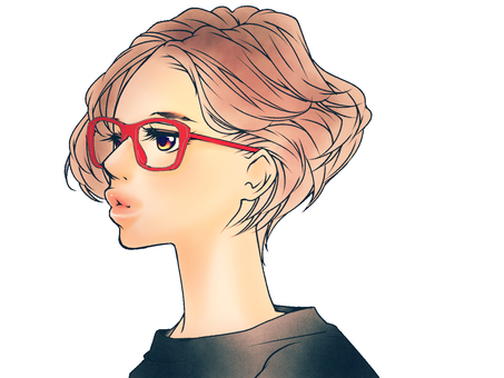 Short Bob Hair women (glasses)