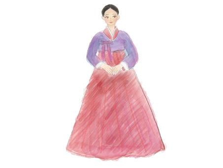 Women in Chimachogoli (Hanbok) ~ Watercolor style