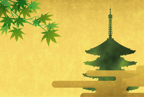 Fresh green and five-storied pagoda