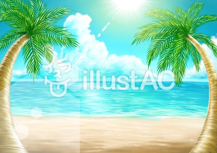 やしの木と海