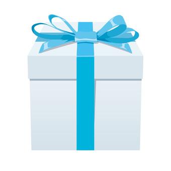 一個淺藍色的絲帶禮品盒