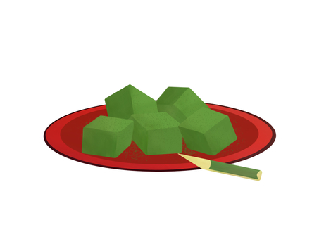 Warabi mochi (green tea)