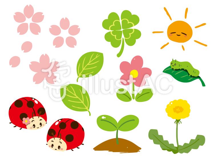 春の花と虫セットイラスト No 968479無料イラストならイラストac