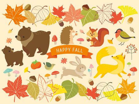 Autumn animals and plant illustration (4)