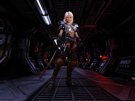 宇宙船通路で敵を迎え撃つ妖精戦士