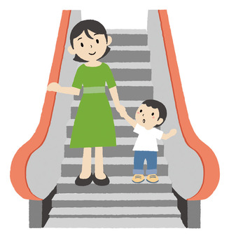 Hand in hand with escalator