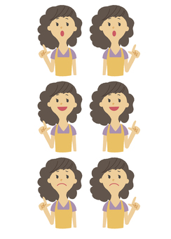 Young female pointing facial expression various upper body set