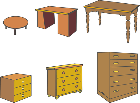 Desk and staff wardrobe desk icon Various materials collection