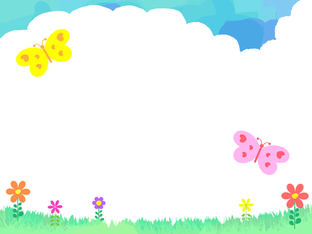A butterfly dancing flower bloom plain and clouds 2