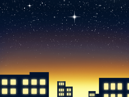 城市日落和星星