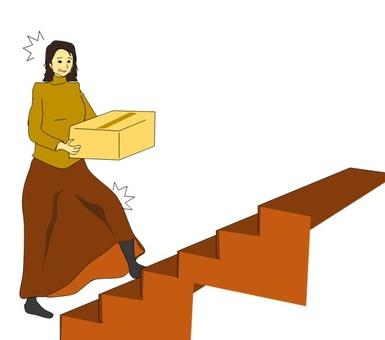 계단 승강으로 무릎 관절이 아픈 여성