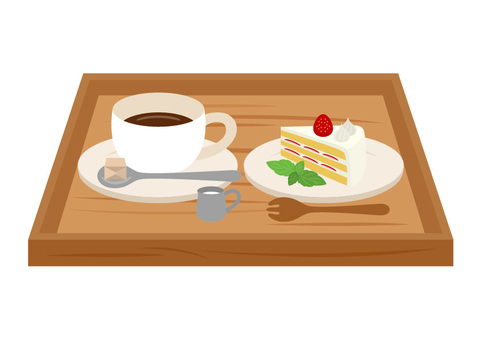Set of coffee and short cake