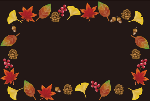 Autumn leaves and nuts frame