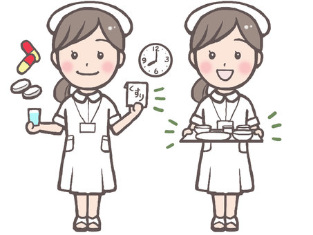 Nurse illustration 2 (medicine, meal)