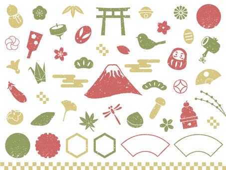3 colors Japanese style stamp