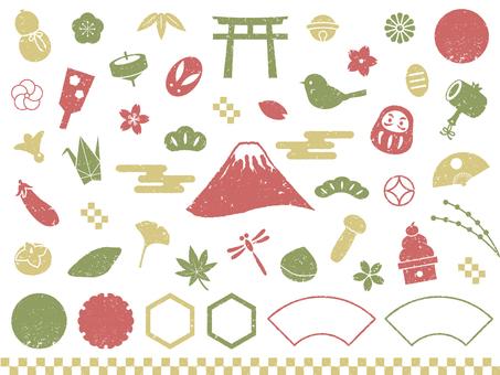 3 색 일본식 도장