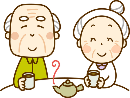 An elderly couple enjoying tea