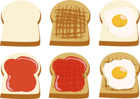 Bread and toast, jam and fried eggs