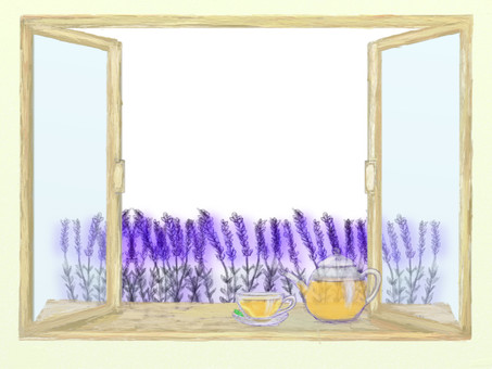 Retro window side herbal tea and lavender