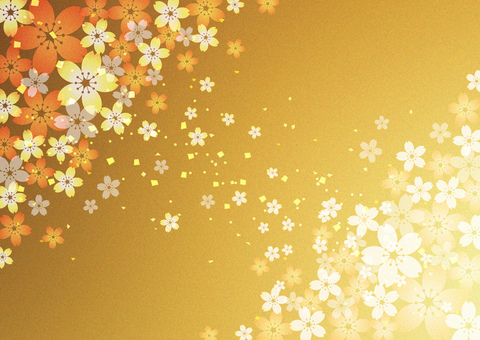 Sakura _ gold leaf background