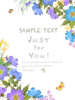 ブルーの花パターン