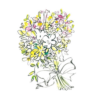 Bouquet with watercolors