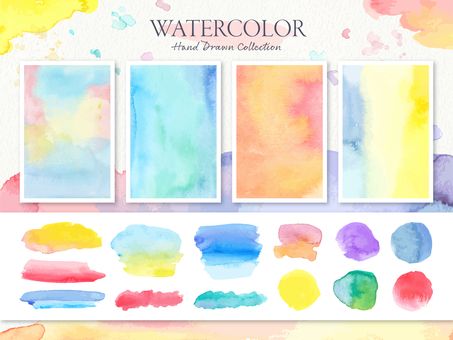 Watercolor paint texture background set