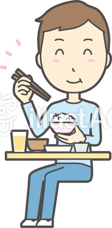 青年ブルー長袖-023-全身のイラスト