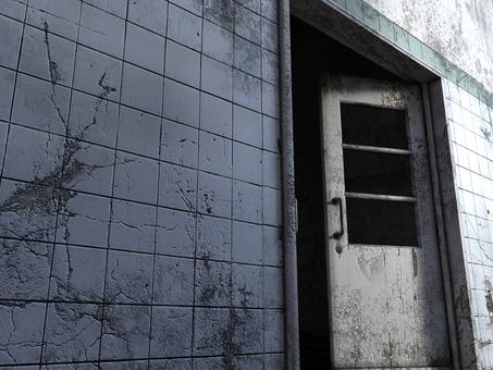 朽ちた病室の入り口